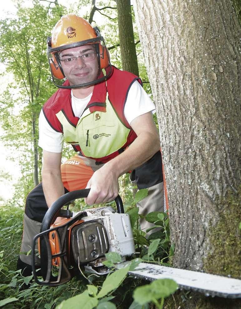 Jan Rache bei seiner Lieblingsarbeit: Baumfällen. Höchste Konzentration ist dabei gefragt.