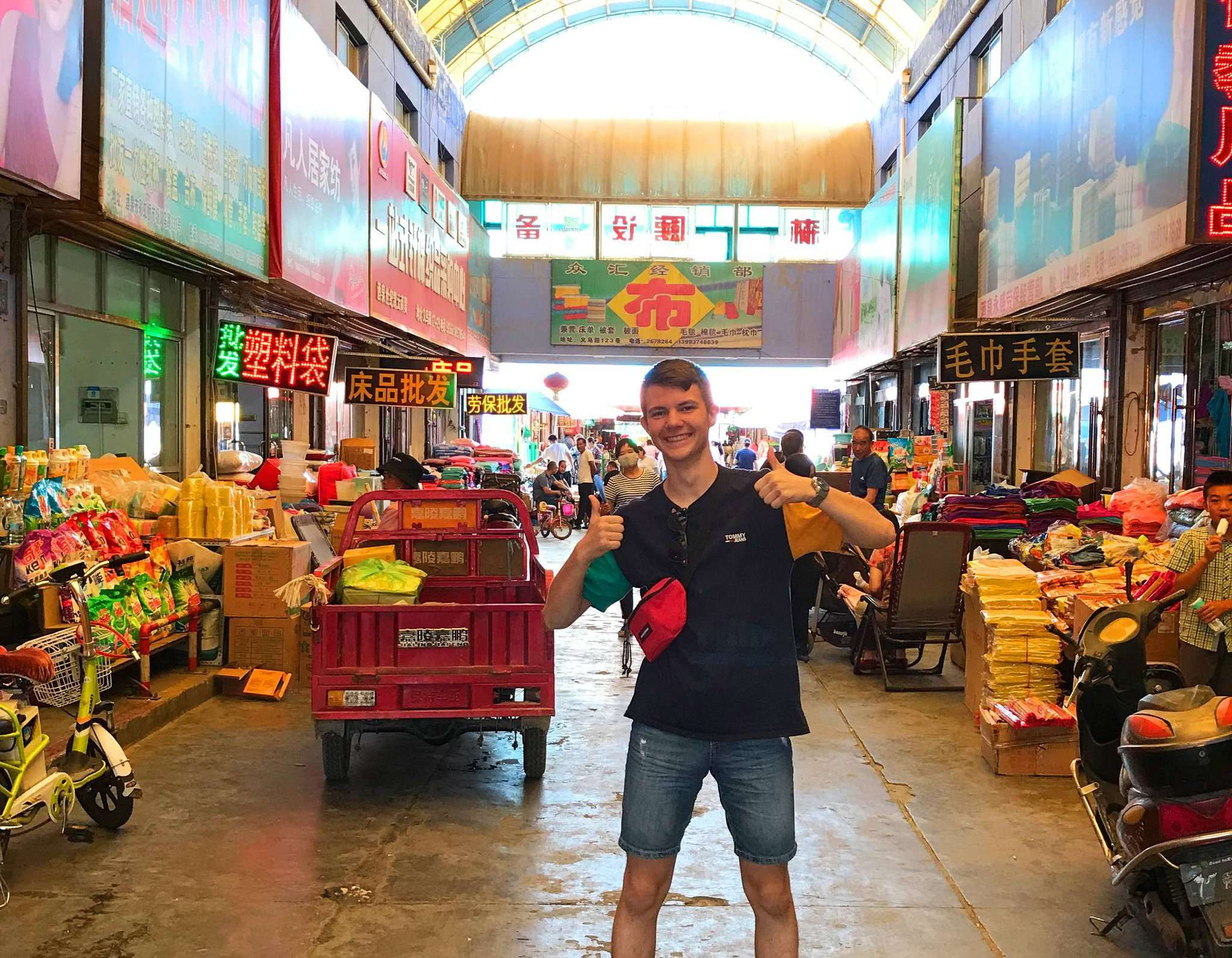 Aaron Kruse ist gut in China angekommen. Er berichtet, dass die Menschen ihn freundlich empfangen.