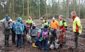 Freiwillige Helfer der Naturpädagogik pflanzen 200 Rotbuchen