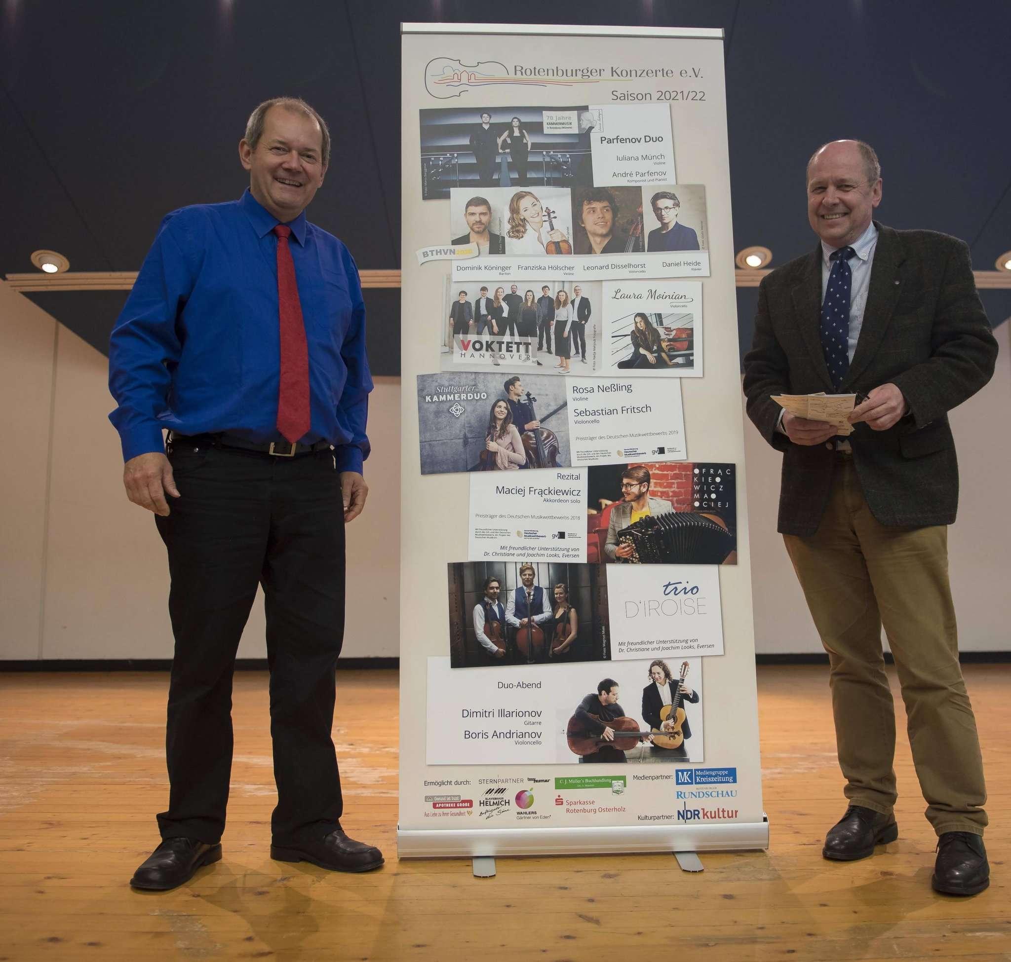 Niels Kruse (l.) und Wilhelm Hahne peilen den Neustart der Rotenburger Konzerte an. Am 16. September soll es losgehen.