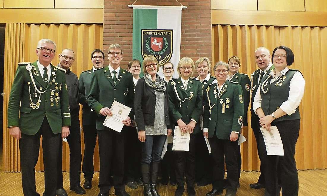 Mitglieder der Wittkopsbosteler Schützen im Rahmen ihrer kürzlich veranstalteten Generalversammlung