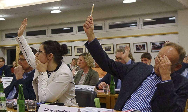 Sinnbildlich für die Debatte um Peggy Miesner (Dritte von links): Bei den meisten Tagesordnungspunkten waren ihre CDU-Fraktionskollegen anderer Meinung.