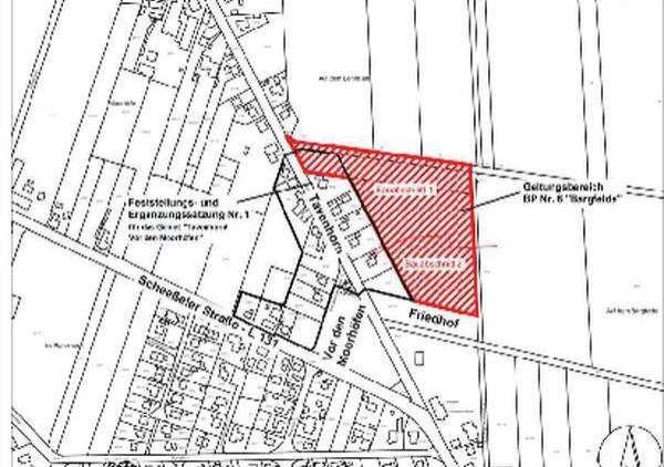 Das zukünftige Baugebiet Bargfelde schließt sich östlich an die bereits vorhandenen Wohngebiete an.