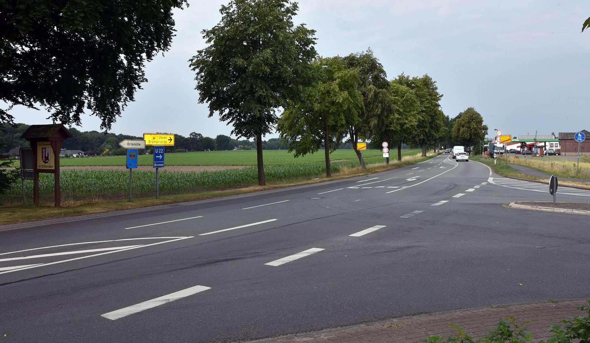 Die Gemeinde möchte an der Landesstraße gegenüber des bestehenden Gewerbes weitere Flächen ausweisen. Im Bereich Eichenstraße/Waldheim-Osteufer soll eine einzeilige Wohnbebauung entstehen. Foto: Heidrun Meyer