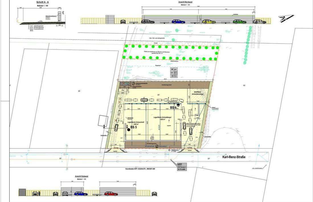 Der Lageplan zeigt den Aufbau des neuen Sammelplatzes an der Karl-Benz-Straße.