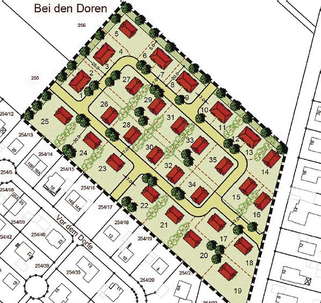 Etwa 25 Grundstücke will die Gemeinde Horstedt im Baugebiet