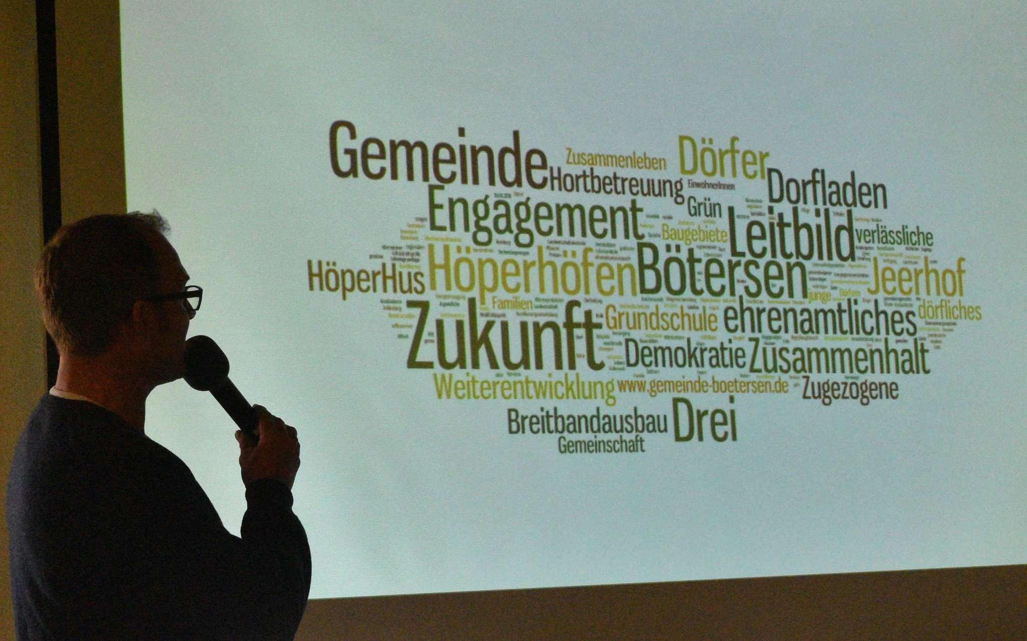 Cord Trefke stellt eine Schlagwortgrafik vor, die Werte verdeutlichen soll, welche das Leitbild aufgreift.