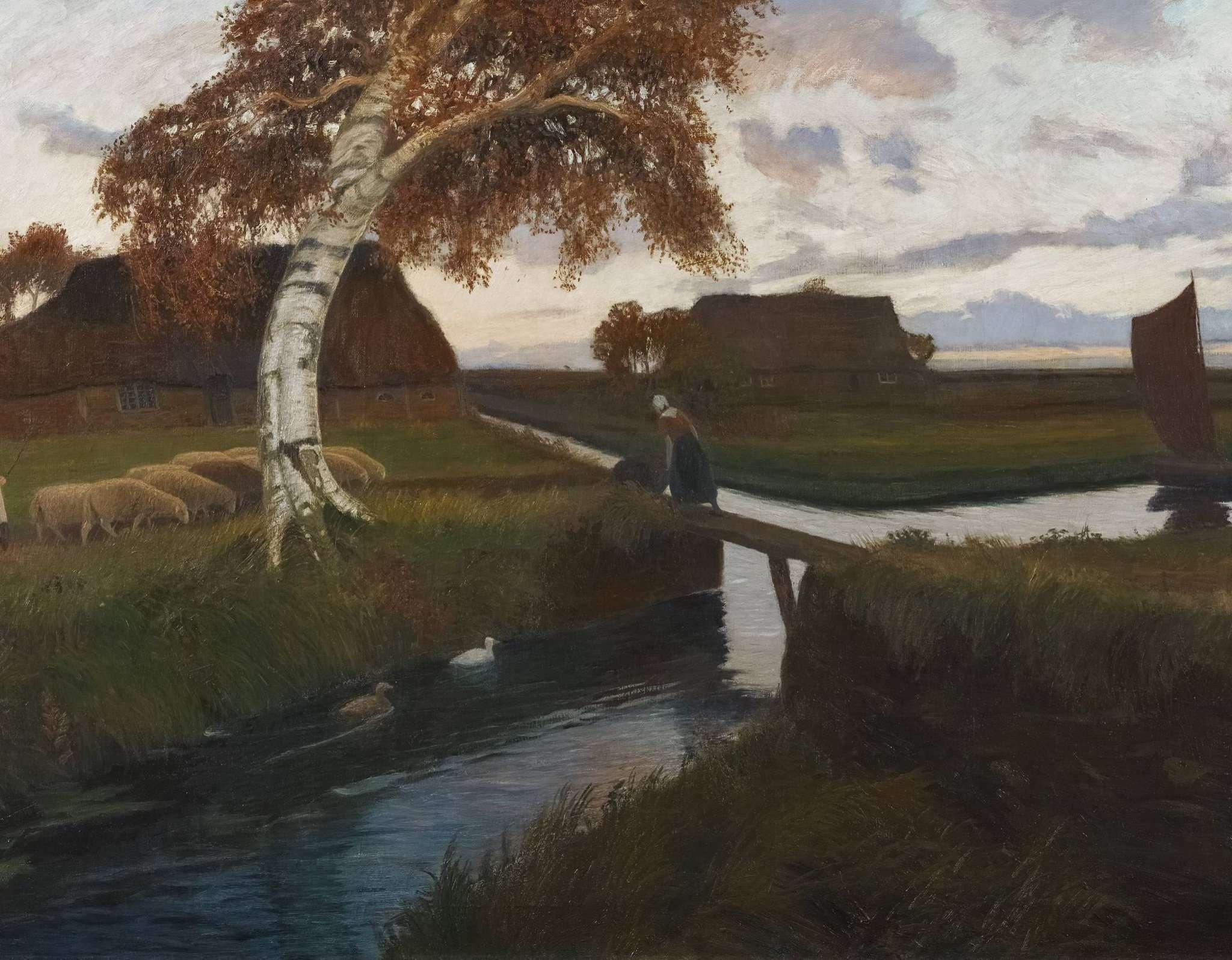 Otto Modersohn: Abend im Moordorf, 1898