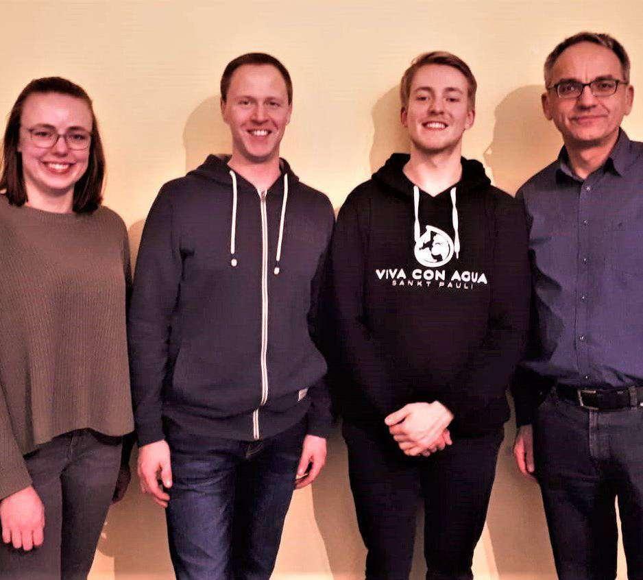 Die Neugewählten beim OKC: Janina Jakobs (Jugendwartin), Michael Grunwald (Wanderwart), Steffen Jakobs (Jugendwart), und Arno Gundlack (Vorsitzender)