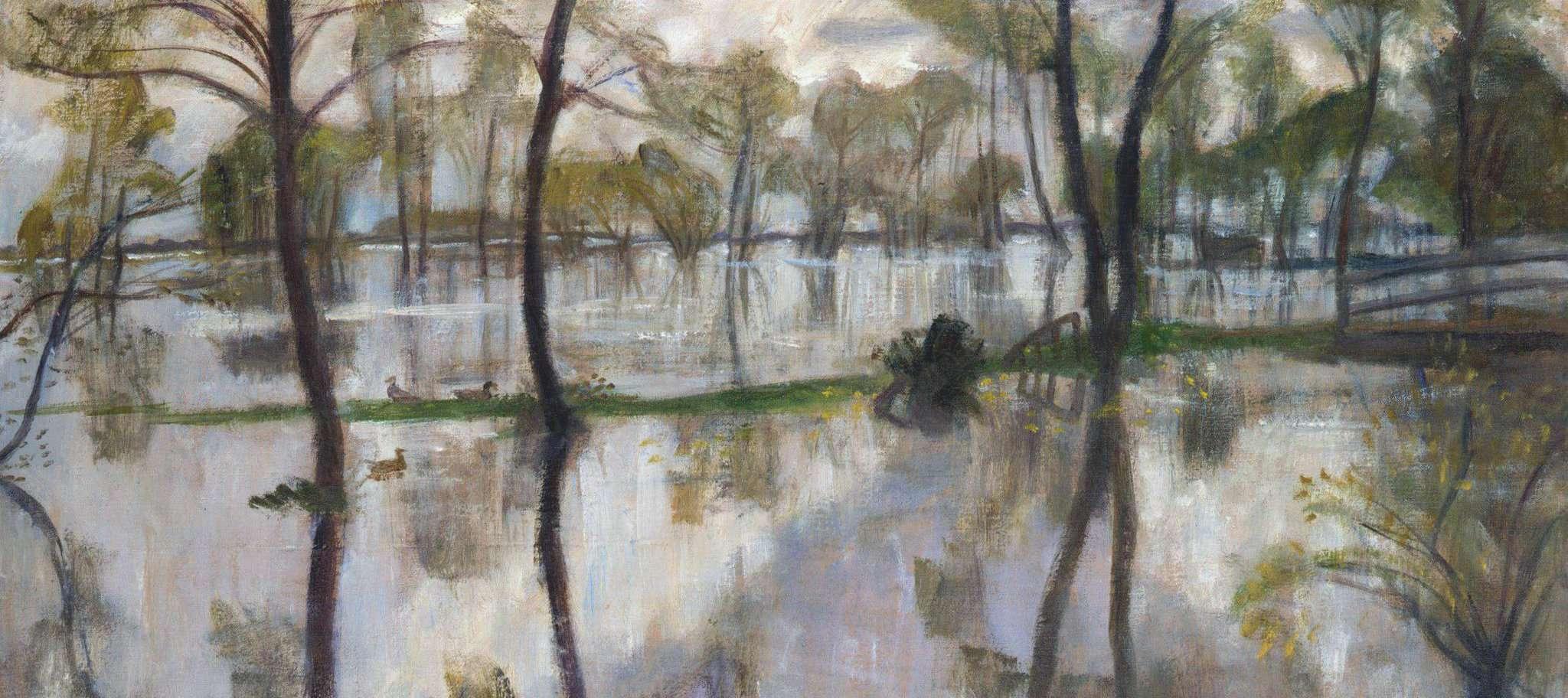 Dieses Überschwemmungsszenario malte Otto Modersohn um 1932. Das Bild befindet sich heute in Privatbesitz, ist aber Teil der neuen Ausstellung.