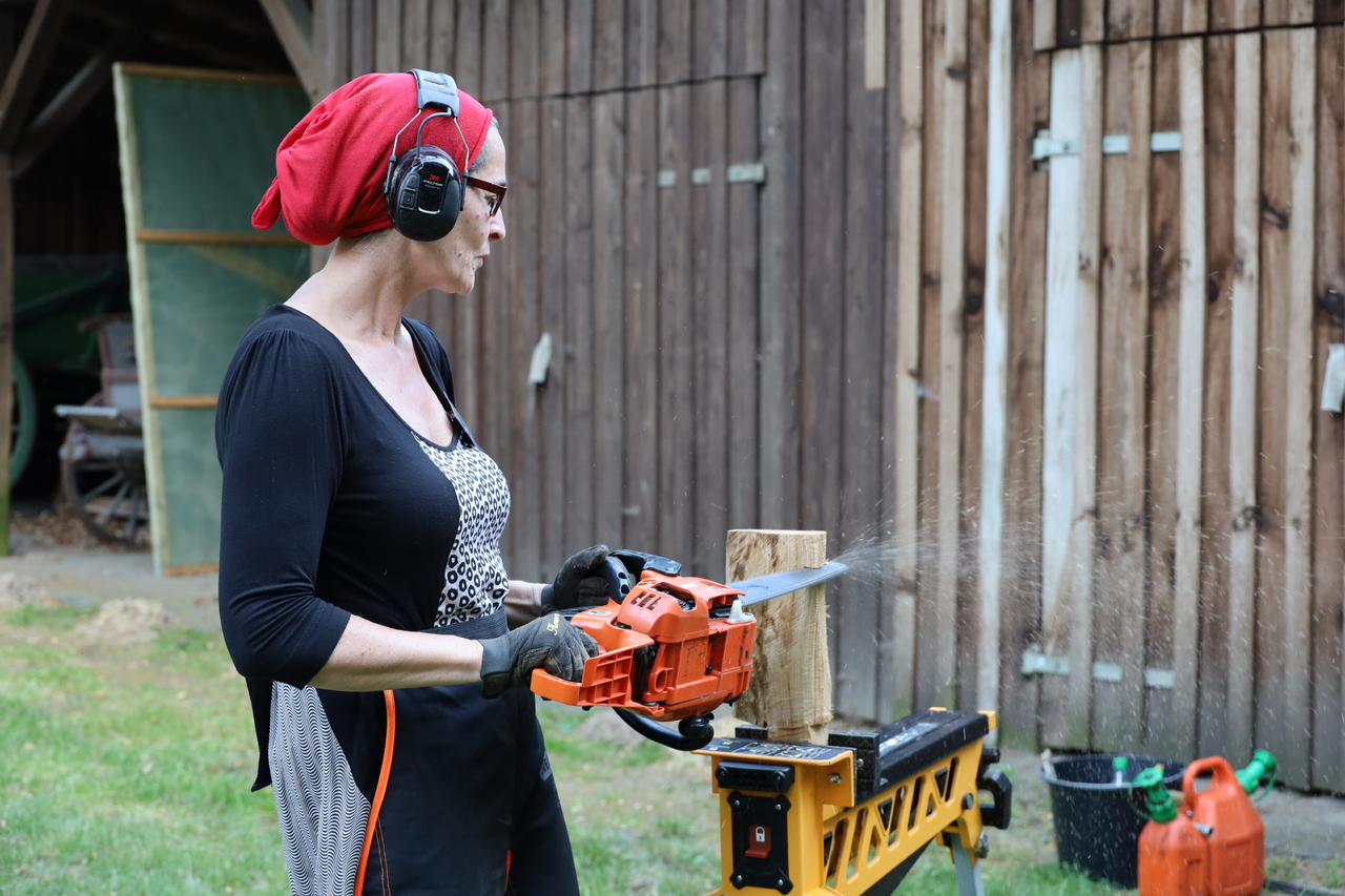 Filigran: MIt der Kettensäge erschafft Ragna Reusch Holzskulpturen von einzigartiger Ausdruckskraft. Foto: Henning Leeske