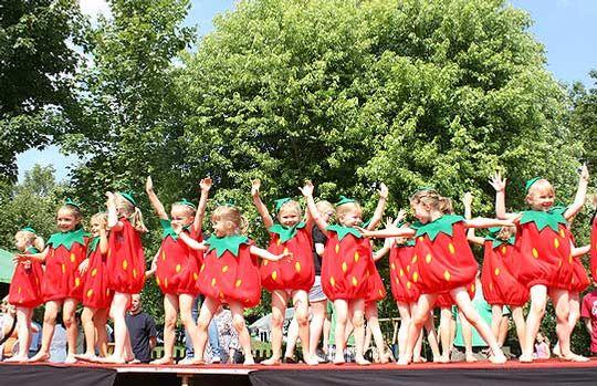 Die kleinen Erdbeeren der Kinderballett-Gruppe von Fiona Stermann meisterten ihren ersten Bühnen-Auftritt fröhlich und mit Bravour              Foto: Winterhalter