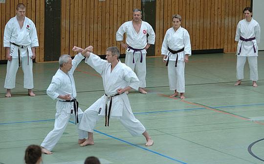 Großmeister Shihan Koichi Sugimura während einer Trainingseinheit