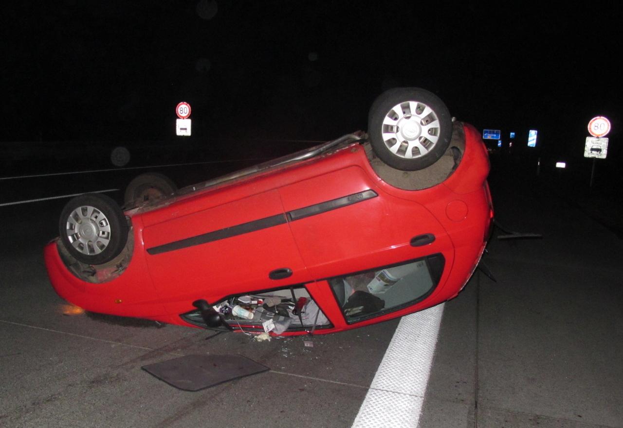 Nach dem Überschlagen blieb der Wagen auf dem Dach liegen