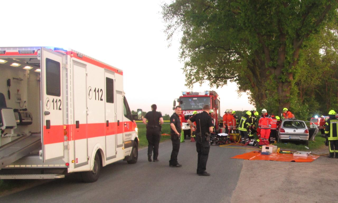 Aus bislang ungeklärter Ursache kam der Wagen von der Straße ab und prallte gegen einen Baum.
