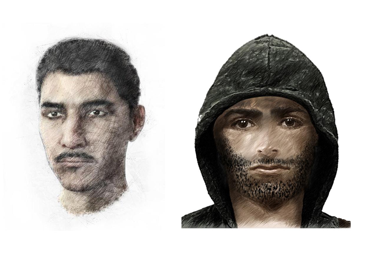 Mit diesen Zeichnungen fahndet die Polizei nun nach mutmaßlich am Raubüberfall in Sottrum beteiligten Tätern.