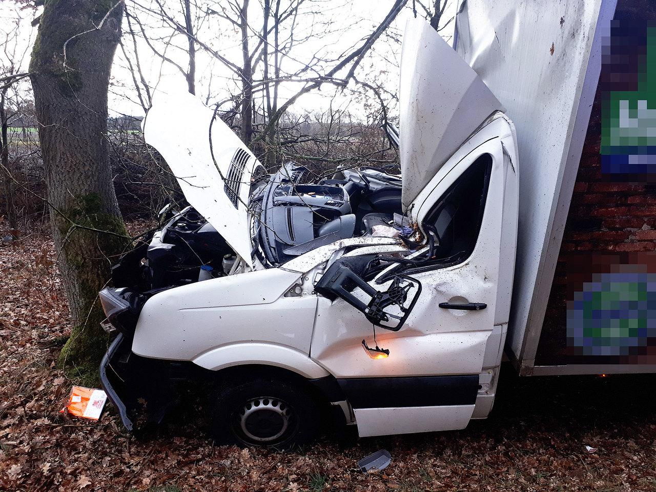 Nach der Kollision mit der auf die Straße gestürzten Birke kam der Lieferwagen an einem Baum im Seitenraum zum Stehen.